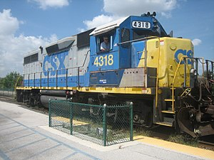 EMD GP39-2 - CSX 4318 EMD GP39-2 at Deerfield Beach Seaboard Air Line Railway Station