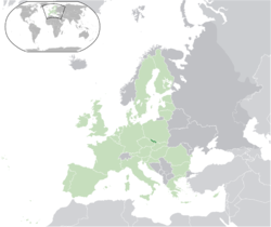 Location of Czech Silesia in Europe