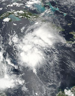 Hurricane Earl (2016) - Tropical Storm Earl intensifying over the Caribbean Sea on August 2