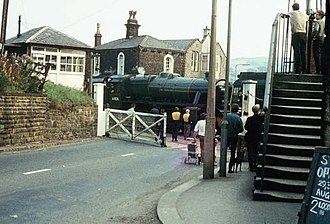 Helmshore - Image: East Lancashire Railway at Helmshore station 1970 from Helmshore Road