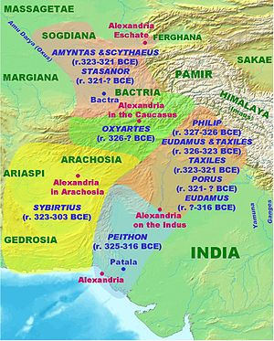 Seleucid–Mauryan war - Alexander the Great's Satrapies in Northern India.