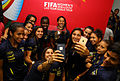 Ecuador women's national team with Women's World Cup trophy (16711069689).jpg