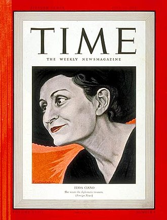 Edda Mussolini - An illustration of Edda on the Cover of Time, 24 July 1939.