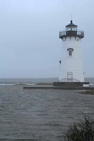 Edgartown Harbor Light - Edgartown Harbor Light surrounded by Hurricane Sandy flood waters during full-moon tidal cycle: 29 October 2012.