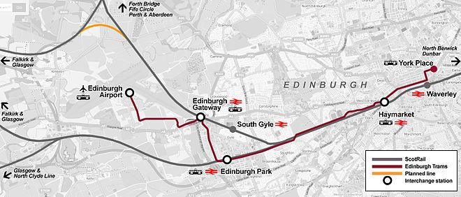 Edinburgh Gateway tram connections map