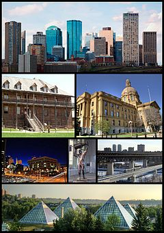 From top left: Downtown Edmonton, Fort Edmonton Park, Legislature Building, Law Courts, Rogers Place, High Level Bridge, Muttart Conservatory