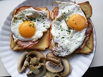 Open sandwich - Ham and egg open sandwich with sliced mushroom