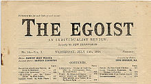 "The top half of a yellowed page of a periodical entitled ""The Egoist"" with ""An Individualist Review"" as the subtitle and ""Formerly the New Freewoman"" underneath the subtitle."