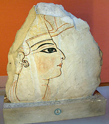 Fragment of a wall painting showing Ramesses VI, on display at the Louvre.