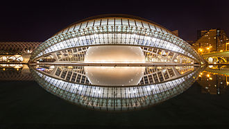 City of Arts and Sciences - Frontal view of opened L'Hemisfèric