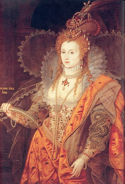 The Rainbow Portrait of Elizabeth I at Hatfield House has been seen as reflecting Cecil's role as spymaster after the death of Sir Francis Walsingham, due to the eyes and ears in the pattern of the dress. Elizabeth I Rainbow Portrait.jpg