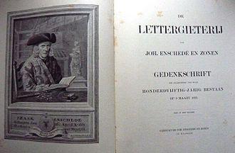Joh. Enschedé - Title page of Enschedé gedenkschrift 1743-1893.