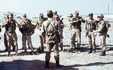 A Soviet Spetsnaz (special operations) group prepares for a mission in Afghanistan, 1988 Evstafiev-spetsnaz-prepare-for-mission.jpg
