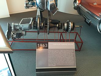 Chrysler Turbine Car - Exploded view of the A-831 turbine engine at the Walter P. Chrysler Museum