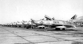 450th Bombardment Group - North American F-100s of the 450th Fighter-Day Group, about 1956. North American F-100C 54-1775 was lost in combat during the Vietnam War when assigned to the 37th Tactical Fighter Wing at Phu Cat Air Base on 2 August 1968, its pilot was recovered.
