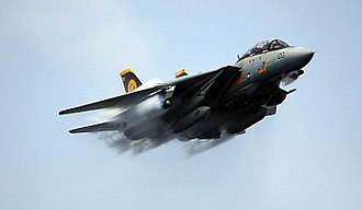 Aircraft in fiction - Real military aircraft, such as this Grumman F-14 Tomcat, frequently appear in works of fiction.