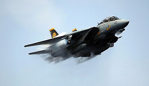 real military aircraft such as this grumman f 14 tomcat frequently appear in