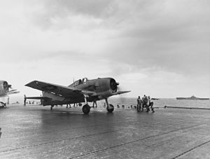 VF-9 - Image: F6F 3 of VF 9 takes off from USS Essex (CV 9) off Truk in February 1944