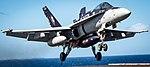 FA-18C Hornet of VFA-34 lands aboard USS Carl Vinson (CVN-70) on 18 January 2018 (180118-N-CG677-0205).JPG