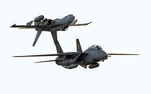 Fourth-generation jet fighter - The F/A-18 inverted above an F-14 shown here is an example of fly-by-wire control.