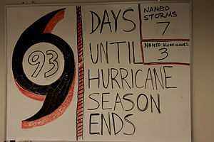 2008 Atlantic hurricane season - A whiteboard at a FEMA tactical relief operation center in Louisiana notes the number of named storms and hurricanes and counts down the days remaining as of August 28th.