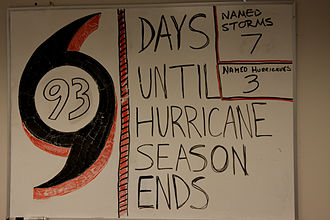 Atlantic hurricane season - A whiteboard at a FEMA tactical relief operation center in Louisiana notes the number of named storms and hurricanes and counts down the days remaining in the 2008 Atlantic hurricane season.