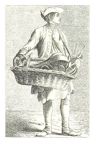 """Street cries - """"Buy my Larders"""", the cry of a Parisian street vendor, engraving by Fournel from Les Cris de Paris, types et physionomies d'autrefois, 19th century"""
