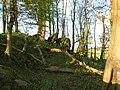 Fallen masonary Blocks - Polnoon Castle.JPG