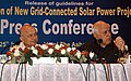 Farooq Abdullah and the Union Power Minister, Shri Sushil Kumar Shinde at the Joint Press Conference after releasing the Guidelines for Selection of New Grid Connected Solar Power Projects, in New Delhi on July 25, 2010.jpg