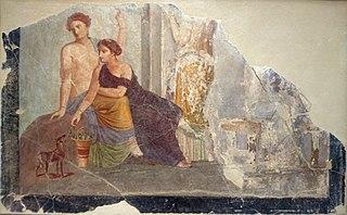 Femme auprès d'un faon, scène de culte à Bacchus (?)