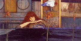 http://upload.wikimedia.org/wikipedia/commons/thumb/c/cf/Fernand_Khnopff_-_I_lock_my_door_upon_myself.jpeg/270px-Fernand_Khnopff_-_I_lock_my_door_upon_myself.jpeg