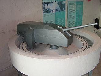 38 cm SK C/34 naval gun - Model of the 38 cm SK C/34 emplacement at Hanstholm