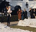 First Lady and Daughter depart White House for Glen Ora. President Kennedy, holding Caroline Kennedy, First Lady... - NARA - 194195 (cropped1).jpg