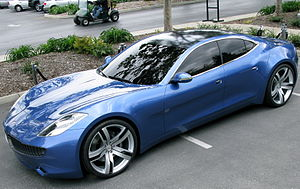 The Fisker Karma PHEV with solar panel roof, s...