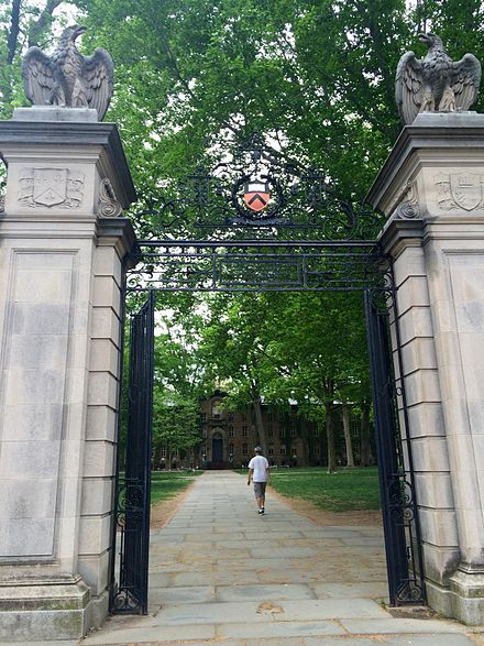 FitzRandolph Gates, which by tradition undergraduates do not exit until graduation FitzRandolph Gate with Nassau Hall.jpg