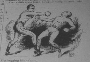 Nonpareil Dempsey - Fitzsimmons knocks down Dempsey in New Orleans, 1891
