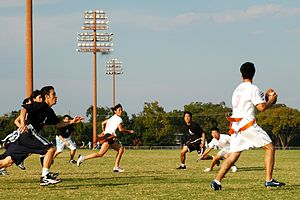 An Intramural game of co-ed flag football at t...