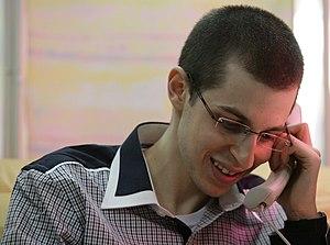 Gilad Shalit prisoner exchange - Gilad Shalit at IDF base Amitai near Kerem Shalom, on the phone with his parents, 18 October 2011.
