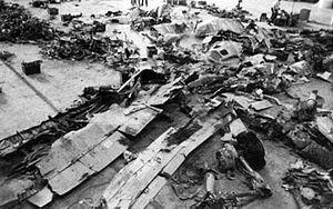 USAir Flight 427 - Recovered wreckage under examination
