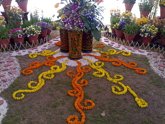 Floral design - Floral art in a competition at the Chandigarh Rose Festival