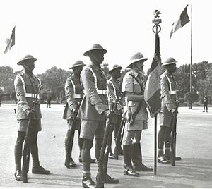 Force Publique - Force Publique soldiers on parade with their Belgian officer in the late 1940s