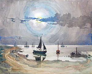 Carl Johan Forsberg - Sønderho Harbour, Fanø, painting by Carl Johan Forsberg