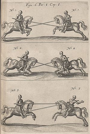 Battle of the Lippe - Lancers fighting each other, from Kriegskunst zu Pferdt, by Johann Jacob von Wallhausen, 1616