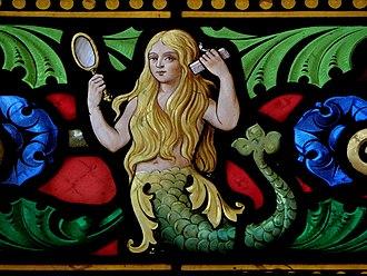 Fée Mélusine sur une vitrail à Fougères