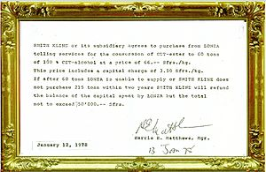 Fine chemical - The beginning: supply contract between Smith Kline French and Lonza for cimetidine precursors