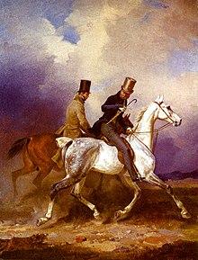 Ausritt des Prinzen Wilhelm von Preußen in Begleitung des Malers, Gemälde von Franz Krüger, 1836 (Quelle: Wikimedia)