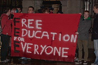 Irish budget, 2012 - A Free Education for Everyone banner outside Dáil Éireann as the government delivers the 2012 Irish budget on 6 December 2011.