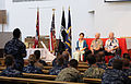 From left, Carole Hickerson, former prisoner of war (POW) Jim Hickerson and Vietnam veteran Tim Guard answer questions at a POW event at the Joint Base Pearl Harbor-Hickam Memorial Chapel, Hawaii, March 26 130326-N-ZK021-003.jpg
