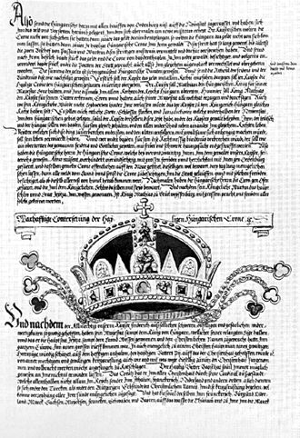 Holy Crown of Hungary - The crown depicted in the 15th-century Fugger Chronicle. All images of the crown before the mid-17th century show the cross in its original upright position.