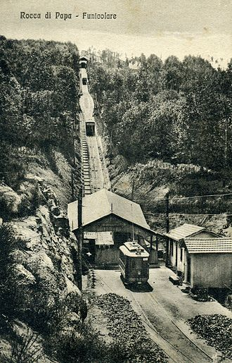 "Rocca di Papa - Rocca di Papa funicular 1907, ""Valle Oscura"" station."